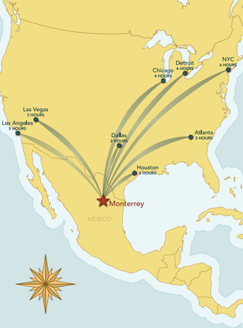 Map of Monterrey Mexico with flying times from major cities in USA.